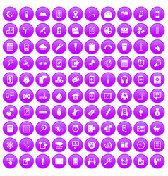100 mobile app icons set purple vector