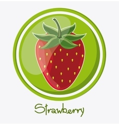 Strawberry fruit inside seal stamp design vector