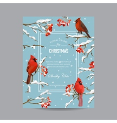 Winter Birds and Berries Frame or Card vector image