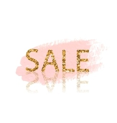 Golden sale lettering pastel pink watercolor vector