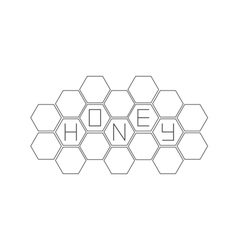Honeycomb set beehive element honey text icon vector