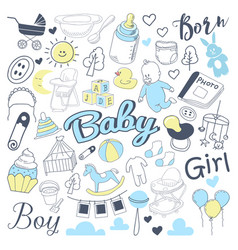 Baby shower freehand doodle vector