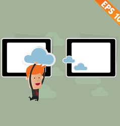 Cartoon business man carry cloud service - vector