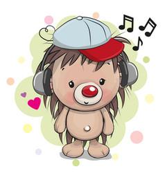 Cute cartoon hedgehog with headphones vector
