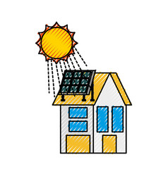 House with solar roof panel for real estate vector