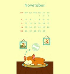 2018 november calendar with welsh corgi dog vector