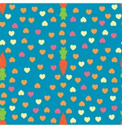 Carrot and heart seamless pattern vector