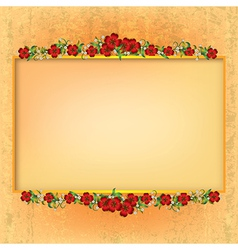 Abstract yellow grunge background with red floral vector
