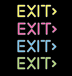 Showing a neon exit sign vector