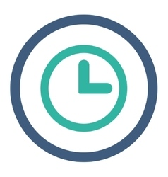 Clock flat cobalt and cyan colors rounded vector