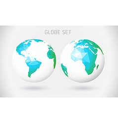 Set of globes - polygonal style vector