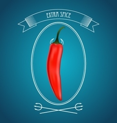 Devil red hot chili pepper and vintage decor vector