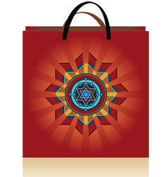 Bag red stars vector