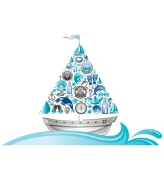 Sea summer travel design with sail boat and icon vector