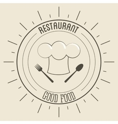 Chefs hat icon menu and food design vector
