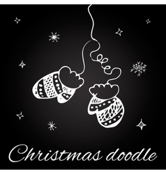 Christmas mittens in doodle style vector