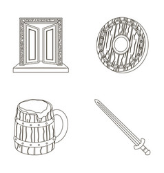 a gate to the treasure a shield for protection a vector image