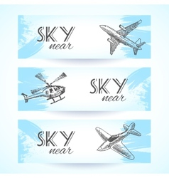 Aircraft icons banners sketch vector image