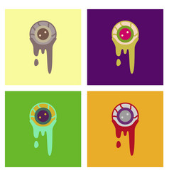 Assembly flat icons halloween zombie eyes vector
