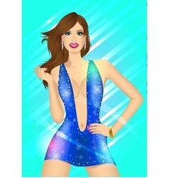 beautiful lady in the night club vector image vector image