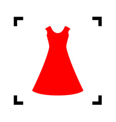 beautiful long dress sign red icon inside vector image vector image