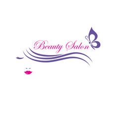 beautiful woman face logo template for hair vector image vector image