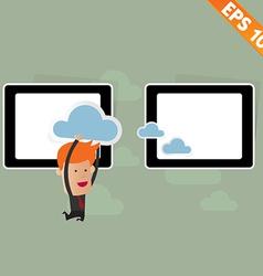 Cartoon Business man carry cloud service - vector image vector image