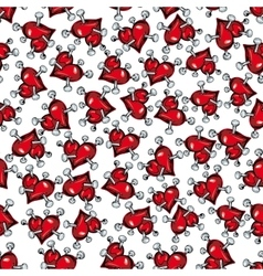 Cartoon red hearts pierced by nails pattern vector