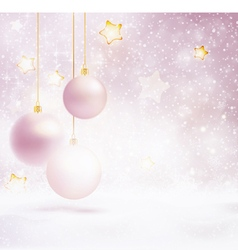 Christmas baubles on blurry lights snow vector image