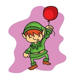 Christmas elf helper with balloon vector