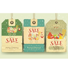 Christmas supermarket sale tags vector