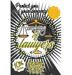 Color vintage lawyer poster vector image