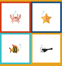 flat icon marine set of fish seafood cancer and vector image vector image