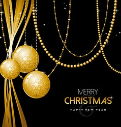Gold christmas and new year ornament bauble design vector