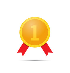 Gold medal number one on a white background vector