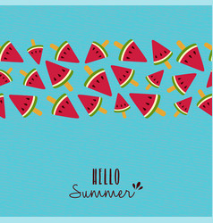 Hello summer quote watermelon pattern card design vector