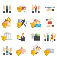 Insurance multicolored flat icon set vector image