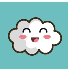 kawaii cloud white design graphic isolated vector image