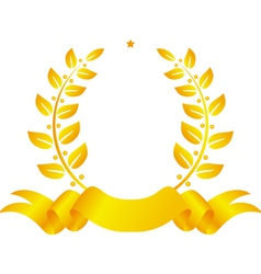 Laurel wreath with ribbon and star vector