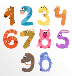 Numbers like farm animals vector image