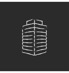 Office building icon drawn in chalk vector image