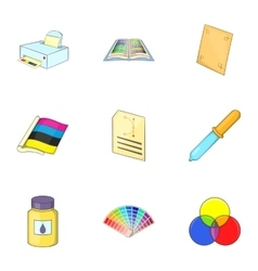 Palette and printer icons set cartoon style vector image