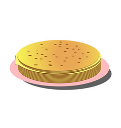 pile of thin russian pancakes on pink plate vector image