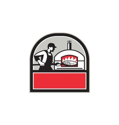Pizza Cook Peel Wood Fired Oven Crest Retro vector image