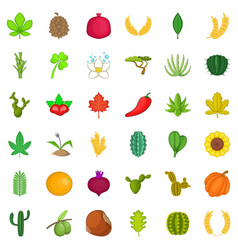 Plant icons set cartoon style vector