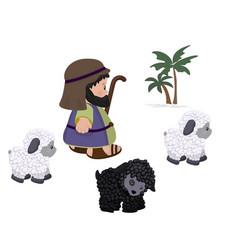 Shepherd and sheeps symbol set vector