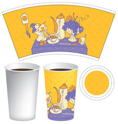 Template paper cup for hot drink vector