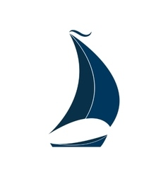 The ship with sails logo for yacht club vector