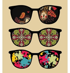 Three retro sunglasses with cool reflection vector image
