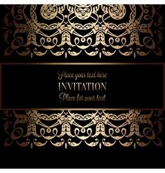 Vintage gold invitation or wedding card on black vector image vector image